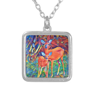 Doe and Fawn Silver Plated Necklace