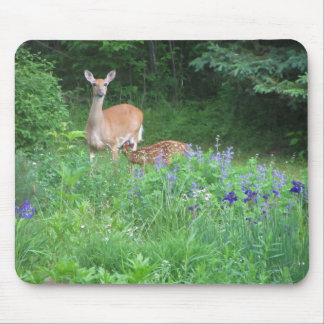 Doe and Nursing Fawn Spring Garden Mouse Pad