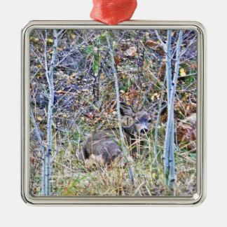 Doe deer and fawns metal ornament