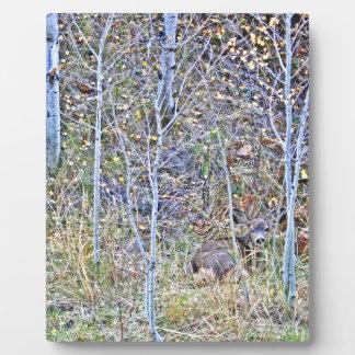 Doe deer and fawns plaque