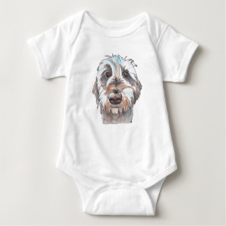 Does my hair look good? Dog portrait Baby Bodysuit