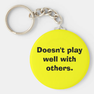 Doesn't play well with others. basic round button key ring