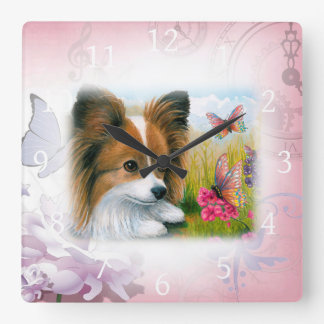 Dog 123 Papillon Square Wall Clock