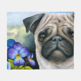 Dog 133 Pug Fleece Blanket
