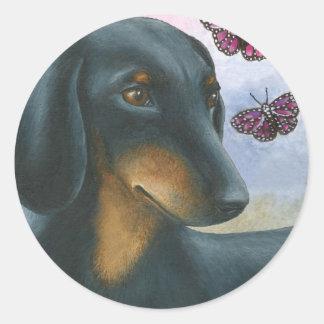 Dog 93 Dachshund Classic Round Sticker