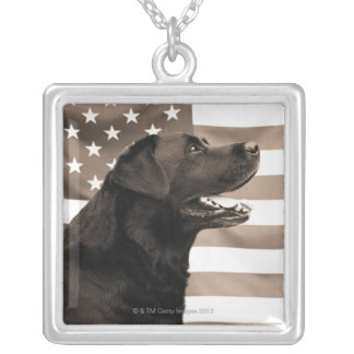 Dog and American flag Silver Plated Necklace
