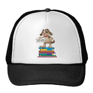 Dog and books trucker hat