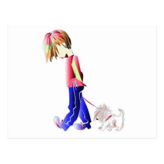 Dog and Boy Walking Digital Art Postcard