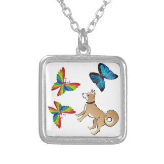 dog and butterflies necklace