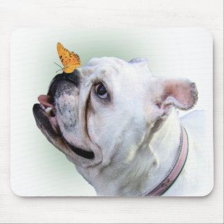 Dog and Butterfly Mouse Pad