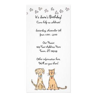 Dog and Cat Birthday Invitation Customized Photo Card