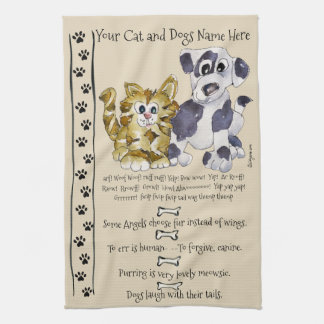 Dog and Cat Cartoon Quotes Kitchen Towel