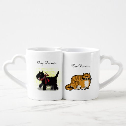 dog and cat couple lovers mug sets