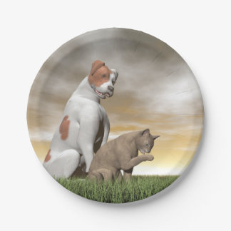 Dog and cat friendship - 3D render 7 Inch Paper Plate