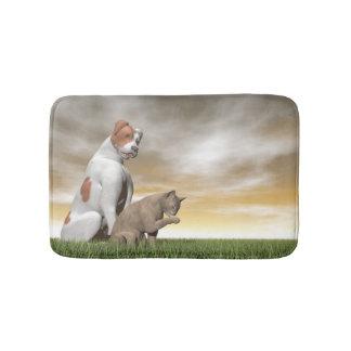 Dog and cat friendship - 3D render Bath Mats