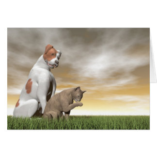 Dog and cat friendship - 3D render Card