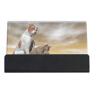 Dog and cat friendship - 3D render Desk Business Card Holder
