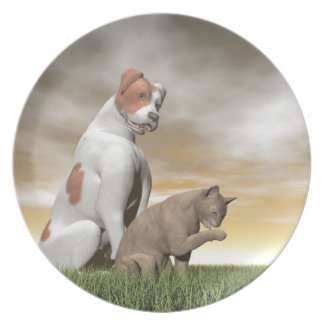 Dog and cat friendship - 3D render Dinner Plates