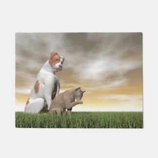 Dog and cat friendship - 3D render Doormat