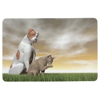 Dog and cat friendship - 3D render Floor Mat