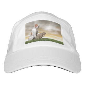Dog and cat friendship - 3D render Hat