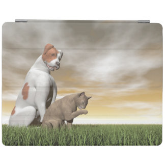 Dog and cat friendship - 3D render iPad Cover