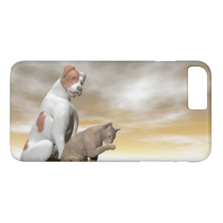 Dog and cat friendship - 3D render iPhone 7 Plus Case