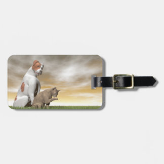 Dog and cat friendship - 3D render Luggage Tag