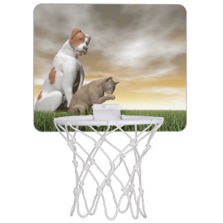 Dog and cat friendship - 3D render Mini Basketball Hoop