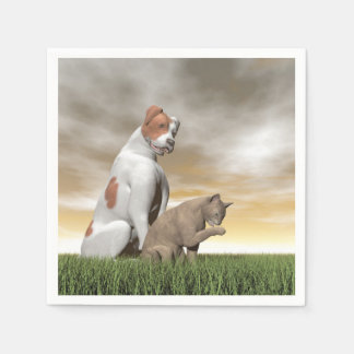 Dog and cat friendship - 3D render Paper Napkin