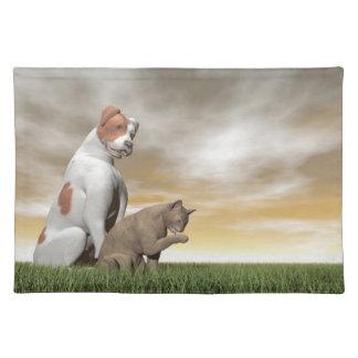 Dog and cat friendship - 3D render Place Mats