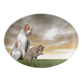 Dog and cat friendship - 3D render Porcelain Serving Platter