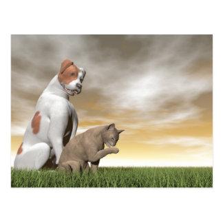 Dog and cat friendship - 3D render Postcard