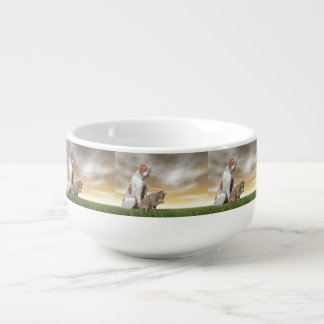 Dog and cat friendship - 3D render Soup Bowl With Handle