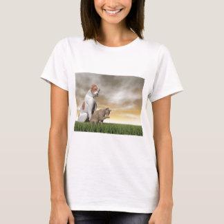 Dog and cat friendship - 3D render T-Shirt