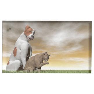 Dog and cat friendship - 3D render Table Number Holder