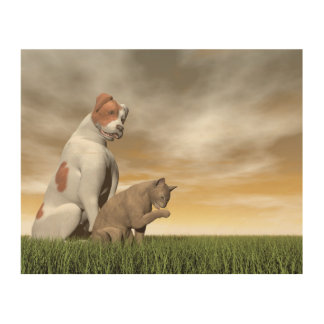 Dog and cat friendship - 3D render Wood Wall Decor