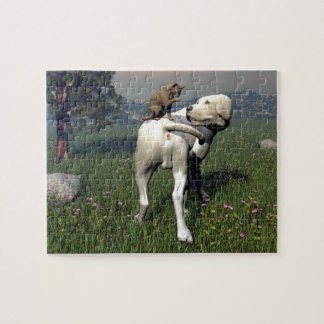 Dog and cat friendship jigsaw puzzle