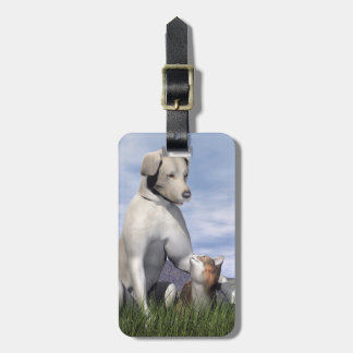 Dog and cat friendship luggage tag