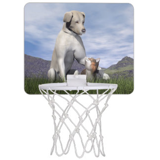 Dog and cat friendship mini basketball hoop