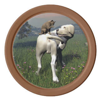 Dog and cat friendship poker chips