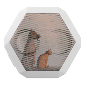 Dog and cat friendship white bluetooth speaker