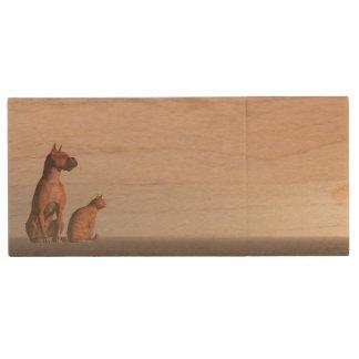 Dog and cat friendship wood USB flash drive