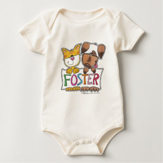 Dog and Cat Hold FOSTER Banner Baby Bodysuit
