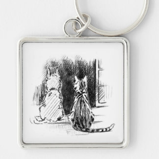 Dog and Cat Looking Out Window, Pet Sympathy Key Chains