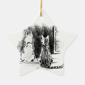 Dog and Cat Looking Out Window Pet Sympathy Christmas Ornaments
