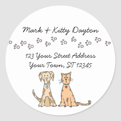 Dog and Cat Paws Address Labels Sticker