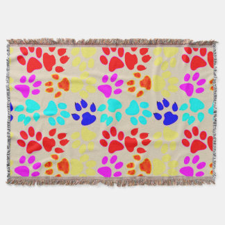 Dog And Cat Paws Throw Blanket