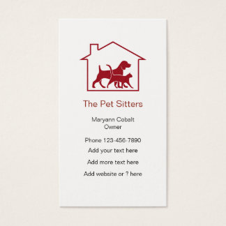 Dog And Cat Pet Sitter House Symbol Business Card