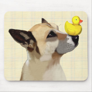 Dog and Duck Mouse Pad